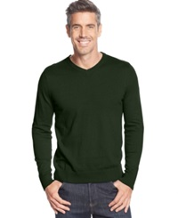 John Ashford Big And Tall Solid Long Sleeve V Neck Sweater Forest Green