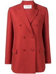 Valentino Double Breasted Blazer Red