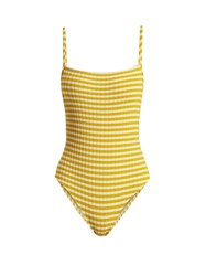 Solid And Striped The Chelsea Ribbed Swimsuit Yellow White