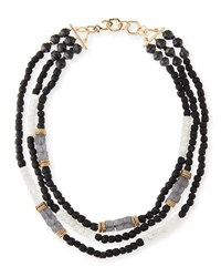 Akola Three Strand Beaded Moonstone Necklace Black White