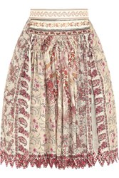 Etro Embellished Printed Cotton And Silk Blend Skirt Pink