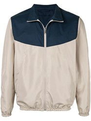 Cerruti 1881 Colour Block Bomber Jacket Brown