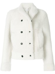Thom Browne High Break Belted Sport Coat In Dyed Shearling White