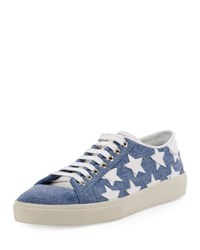 Saint Laurent Court Classic Denim Low Top Sneaker Washed Blue Off White Stars Washed Blue Off W