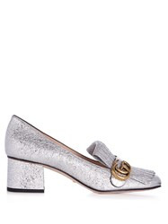 Gucci Marmont Fringed Suede Loafers Silver