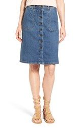 Women's Two By Vince Camuto Button Front A Line Denim Skirt