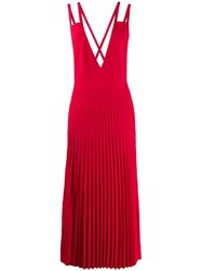 Mrz Pleated Pinafore Dress Red
