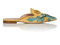 Alberta Ferretti Floral Embroidered Velvet Mules Yellow