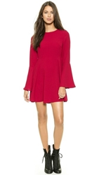 Re Named Solid Bell Sleeve Dress Red