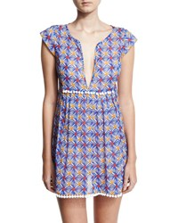Milly Mosaic Print Pompom Coverup Mini Dress Blue Multicolor