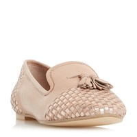 Dune Gentle Woven Loafers Blush