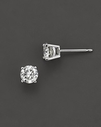Bloomingdale's Colorless Certified Round Diamond Stud Earring In 18K White Gold 0.75 Ct. T.W. No Color
