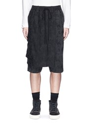 Song For The Mute Wrap Overlay Floral Jacquard Bucket Shorts Black