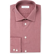 Richard James Brick End On End Cotton Shirt Red