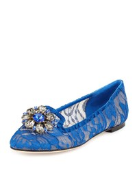 Dolce And Gabbana Crystal Embellished Lace Loafer Blue
