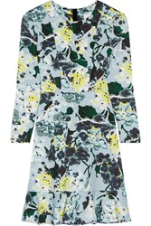 Erdem Judy Floral Print Tech Jersey Mini Dress Sky Blue