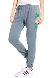 Wildfox Couture Women's Knox Indigo Rose Embroidered Sweatpants