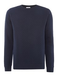 Soulland Huddleston Quilted Crew Neck Sweat Top Navy