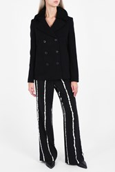 Alexander Wang Peacock Shearling Collar Coat Black