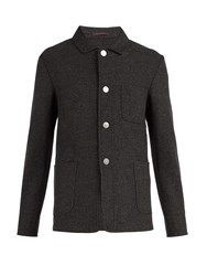 The Gigi Point Collar Wool Blend Blazer Grey