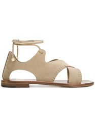 Alvaro Lace Up Sandals Nude And Neutrals