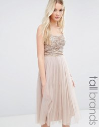 Maya Tall Cami Strap Midi Dress With Tulle Skirt And Embellishment Caramel Tan
