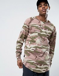 Cayler And Sons Longline Long Sleeve Tee In Camo With Distressing Pink