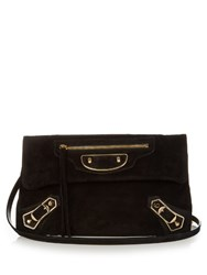 Balenciaga Classic Metallic Edge Suede Envelope Clutch Black