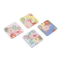 Joules Hollyhock Meadow Blue Floral Coasters Set Of 4