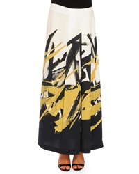 Piazza Sempione Brushstroke Print Pleated Long Skirt Black Ochre