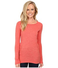 The North Face Long Sleeve Go Seamless Wool Top High Risk Red Dark Heather Women's Long Sleeve Pullover Pink