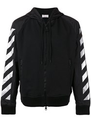 Moncler X Off White Striped Sleeves Zipped Hoodie Black