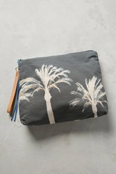Anthropologie Palm Tree Pouch Grey Motif