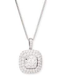 Bouquet 18K White Gold Square Diamond Pendant Necklace Memoire