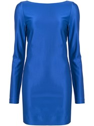 Thierry Mugler Open Back Bodycon Dress Women Viscose 36 Blue