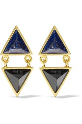 Kevia Gold Plated Lapis And Onyx Earrings Black