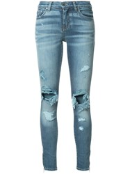 Amiri Distressed Detail Jeans Cotton Spandex Elastane Blue