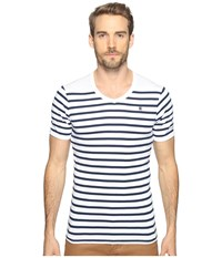 G Star Short Sleeve Ramic Stripe V Neck T Shirt Breton Stripe Cool Rib Men's T Shirt Black