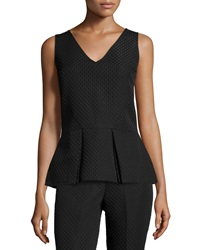 Natori Sleeveless Textured Peplum Top Black