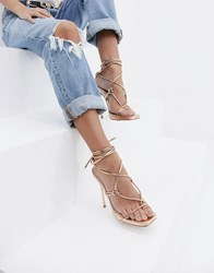 Simmi Shoes London Jenny Rose Gold Tie Up Heeled Sandals Rose Gold