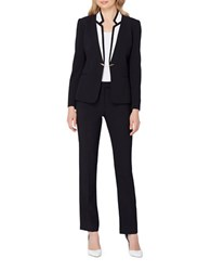 Tahari By Arthur S. Levine Petite Two Piece Chain Detailed Jacket And Pants Suit Black Ivory