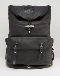 Stighlorgan Reilly Backpack With Roll Top In Lacquered Cotton Canvas Black