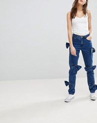 Glamorous Mom Jeans With Bow Details Mid Blue