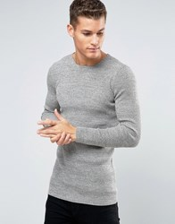Asos Longline Rib Knitted Crew Neck In Muscle Fit Pink Khaki Twist Green