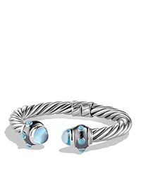 David Yurman Renaissance Bracelet With Blue Topaz And Turquoise Silver Black