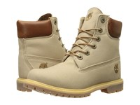 Timberland 6 Premium Boot Tan Waxed Canvas Women's Lace Up Boots Brown