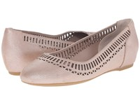Rockport Total Motion 20Mm Lazer Cutout Ballet Warm Taupe Silver Pearl Women's Flat Shoes Beige