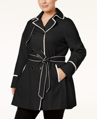 Betsey Johnson Plus Size Corset Trench Coat Black Rain