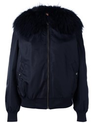 Mr And Mrs Italy Fur Collar Bomber Jacket Blue