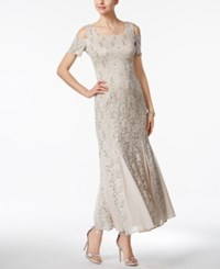 R And M Richards Petite Lace Cold Shoulder Gown Champagne